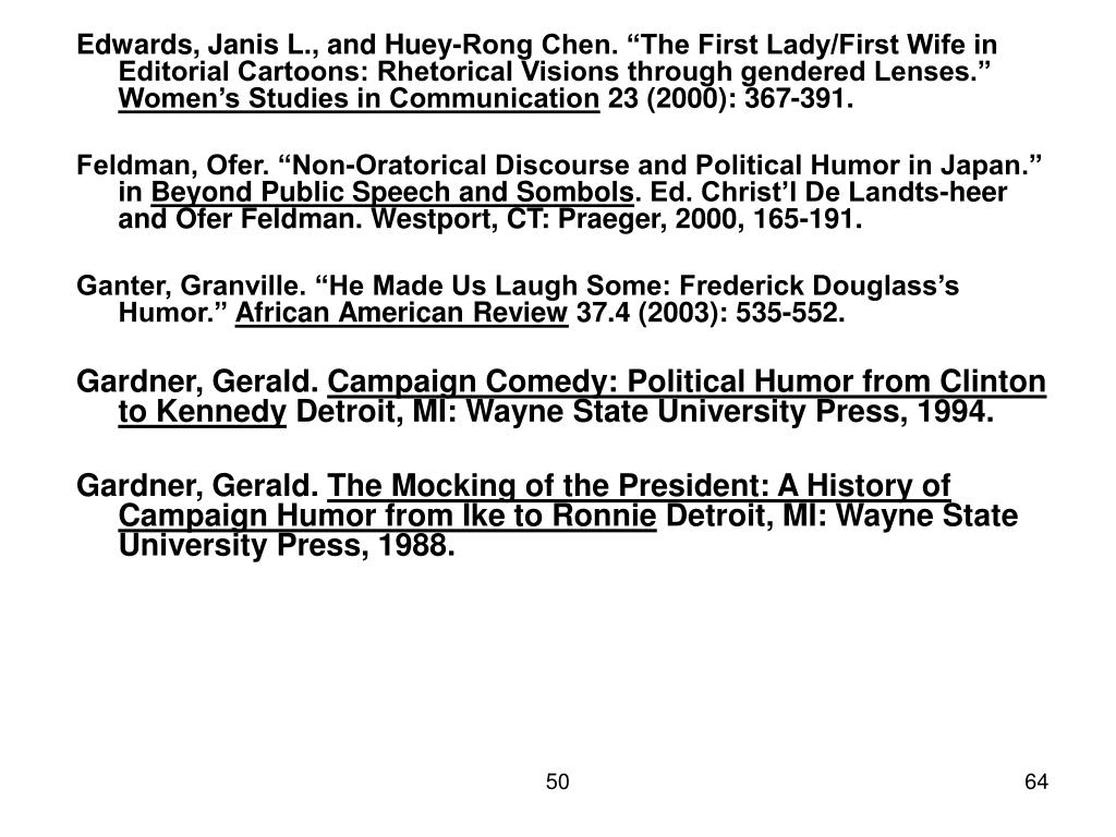 "Edwards, Janis L., and Huey-Rong Chen. ""The First Lady/First Wife in Editorial Cartoons: Rhetorical Visions through gendered Lenses."""
