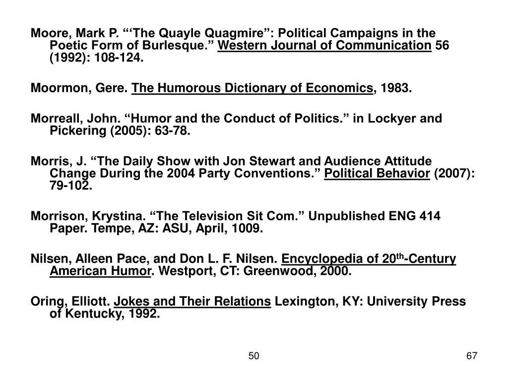 "Moore, Mark P. ""'The Quayle Quagmire"": Political Campaigns in the Poetic Form of Burlesque."""