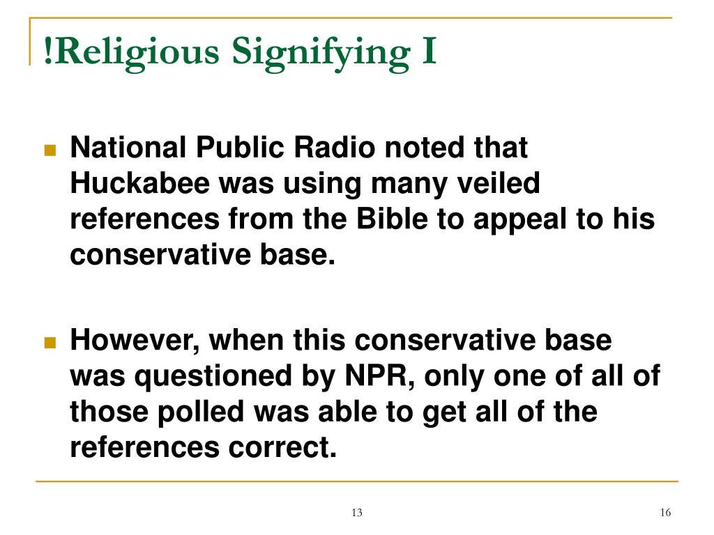 !Religious Signifying I