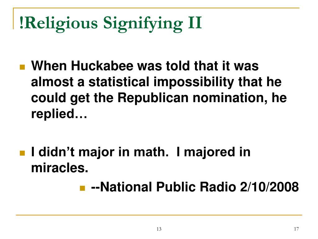 !Religious Signifying II