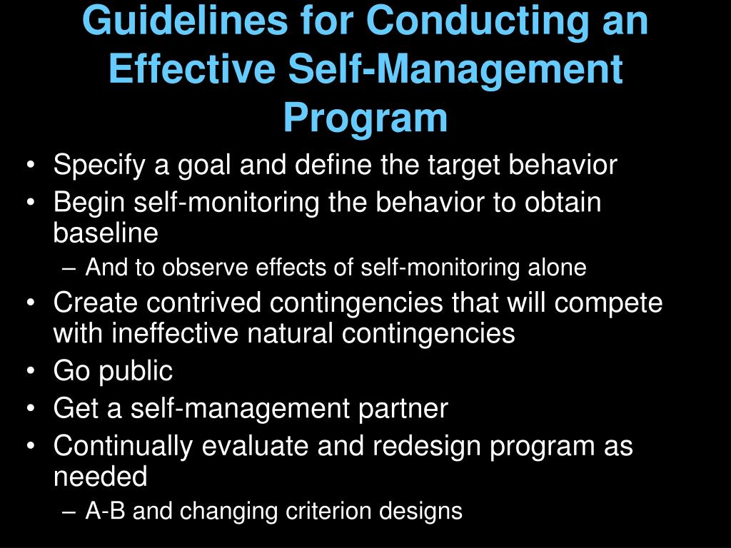 Guidelines for Conducting an Effective Self-Management Program