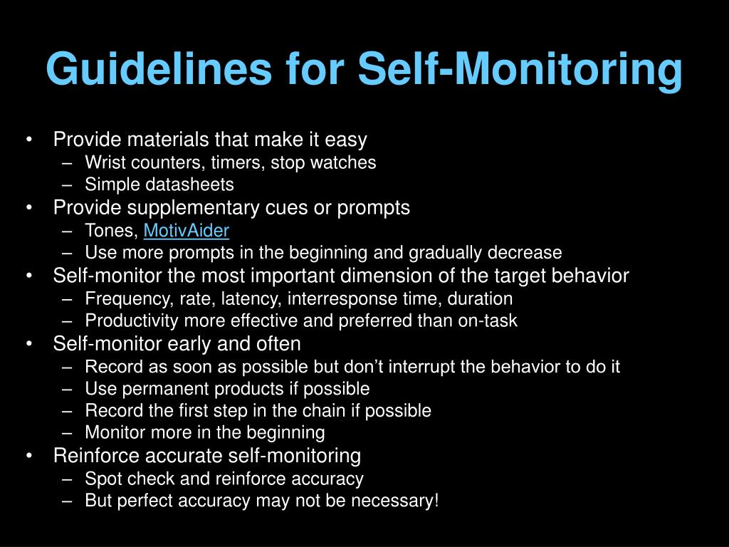 Guidelines for Self-Monitoring