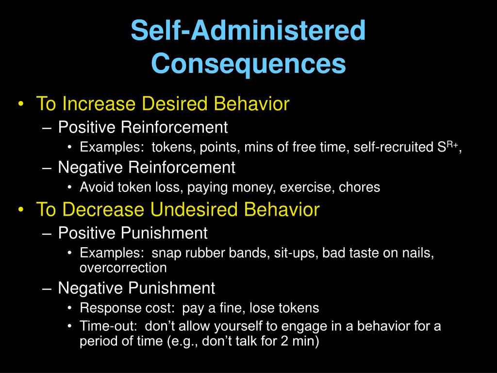 Self-Administered Consequences