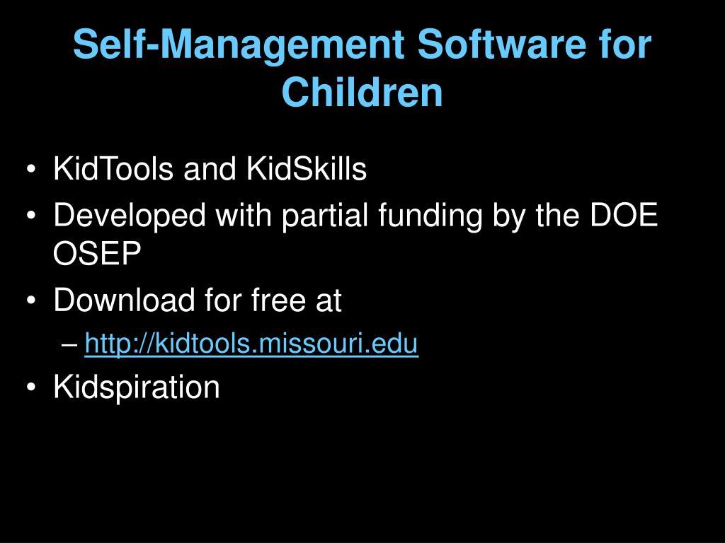 Self-Management Software for Children