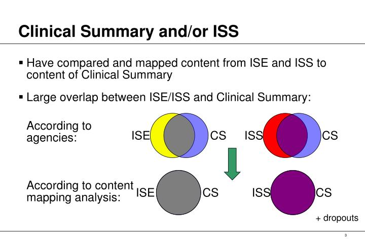 Clinical summary and or iss