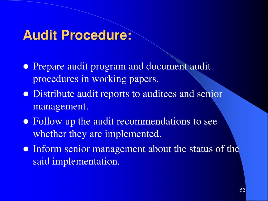 Audit Procedure: