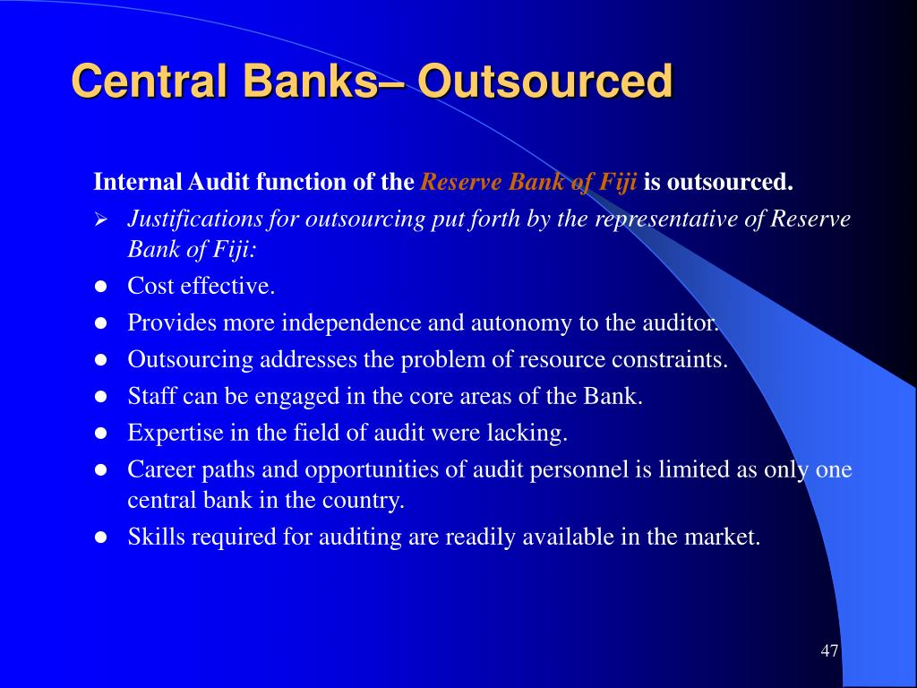 Central Banks– Outsourced