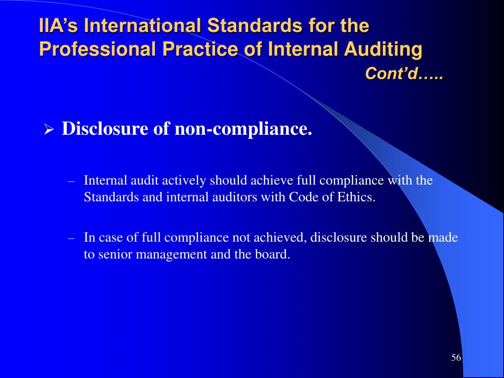 IIA's International Standards for the Professional Practice of Internal Auditing