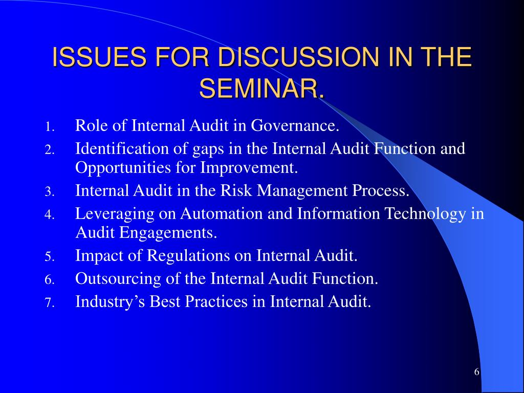 ISSUES FOR DISCUSSION IN THE SEMINAR.