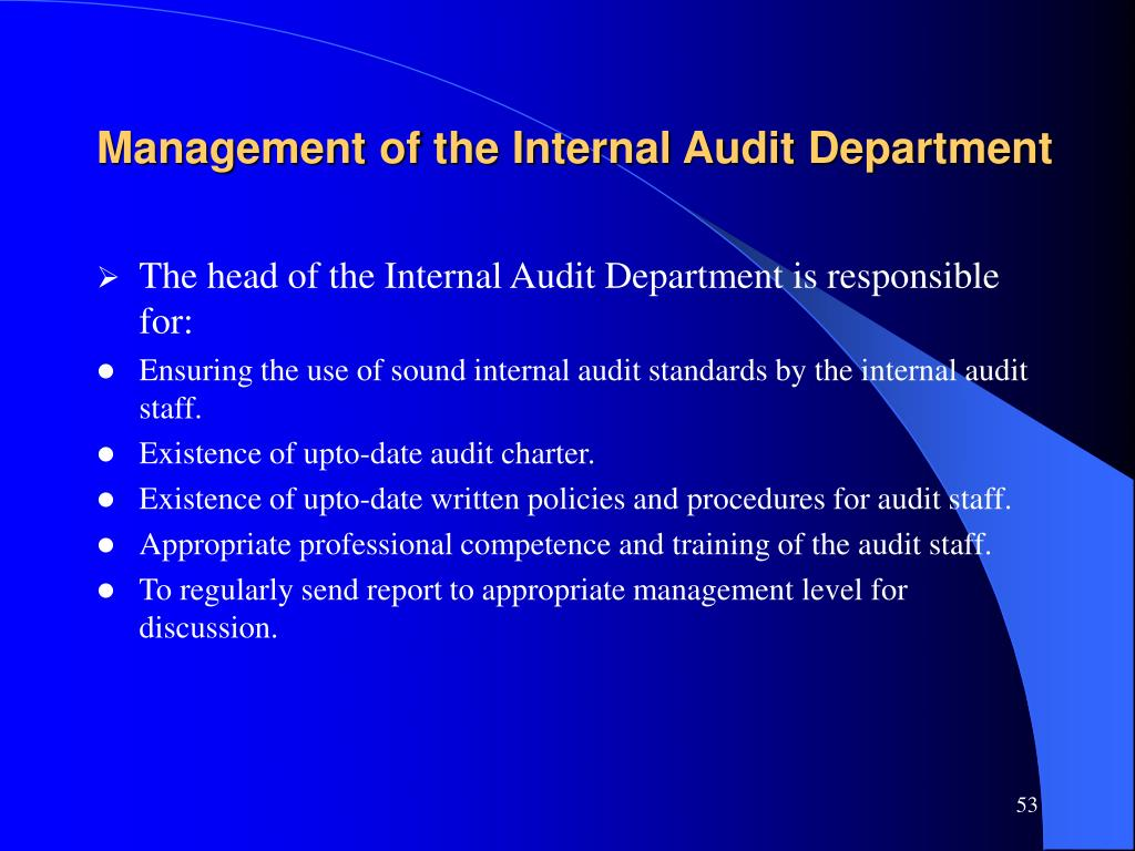 Management of the Internal Audit Department