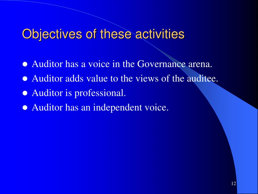 Objectives of these activities