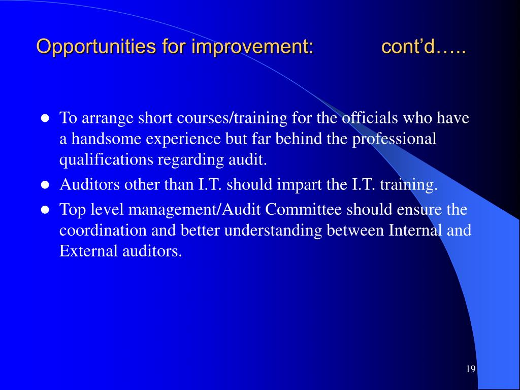 Opportunities for improvement:            cont'd…..