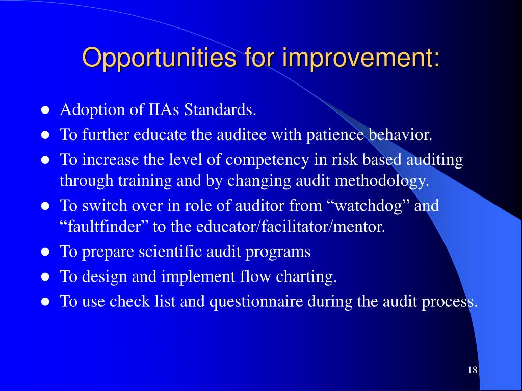 Opportunities for improvement: