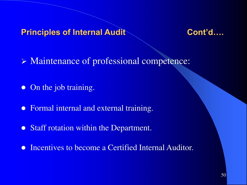 Principles of Internal Audit                           Cont'd….