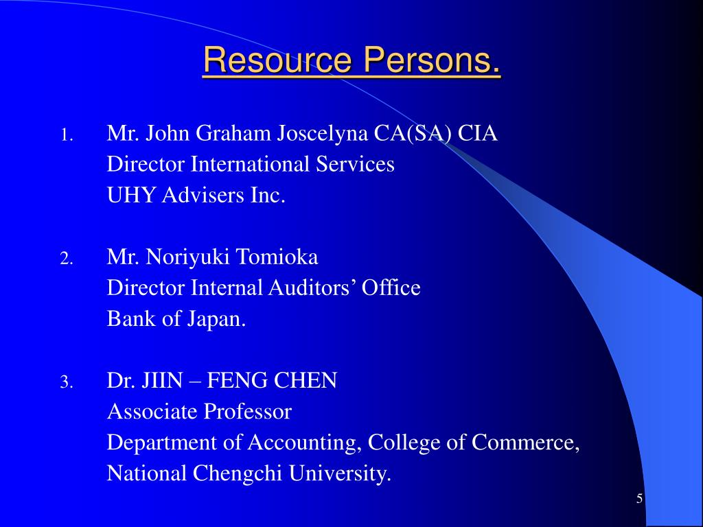 Resource Persons.