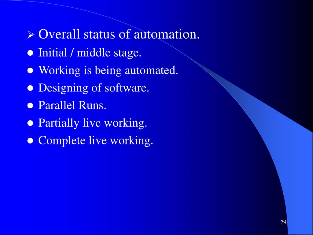 Overall status of automation.