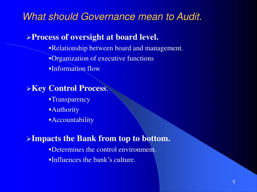 What should Governance mean to Audit.