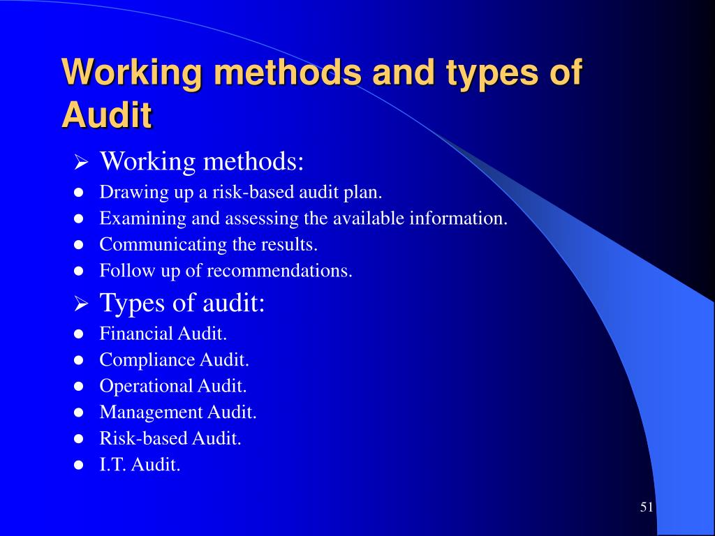 Working methods and types of Audit