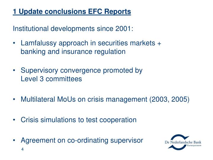 1 Update conclusions EFC Reports