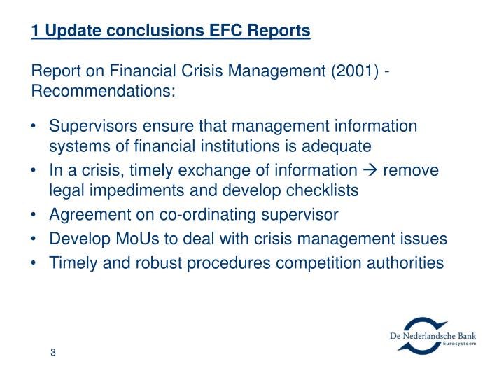 1 update conclusions efc reports report on financial crisis management 2001 recommendations