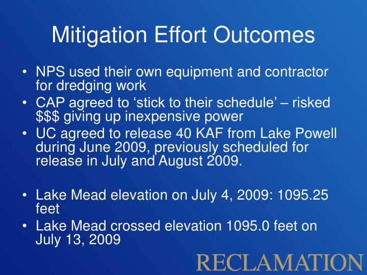 Mitigation Effort Outcomes