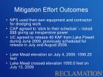 mitigation effort outcomes