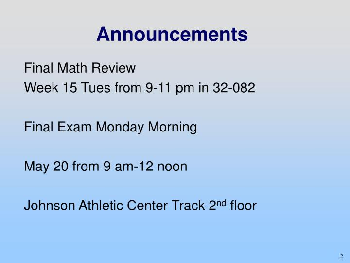 Final Math Review