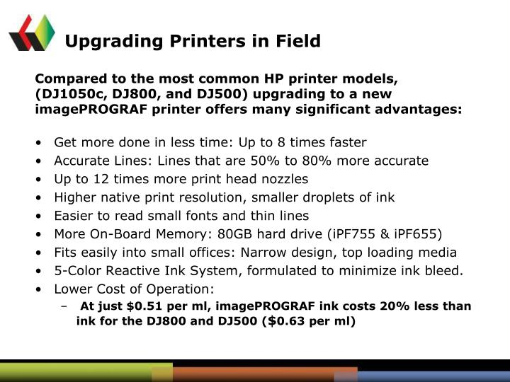 Upgrading Printers in Field