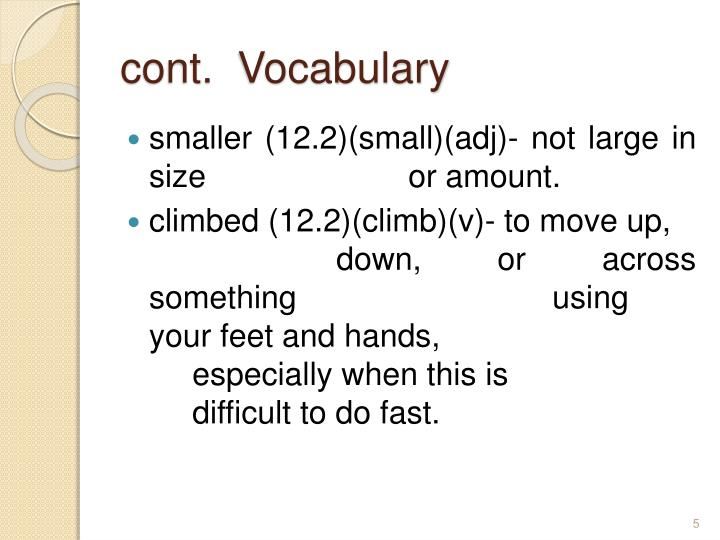 cont.  Vocabulary