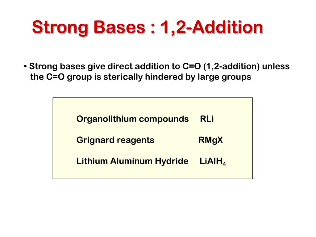 Strong Bases : 1,2-Addition