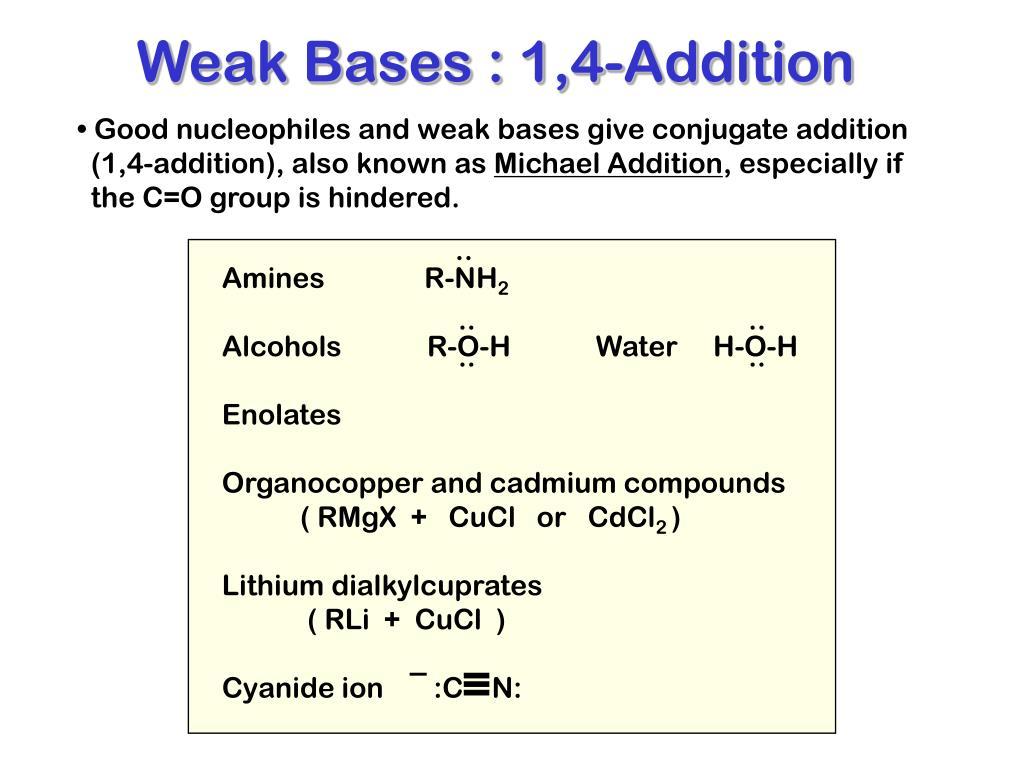 Weak Bases : 1,4-Addition