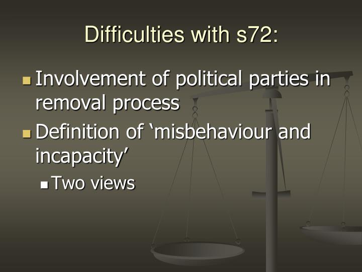 Difficulties with s72: