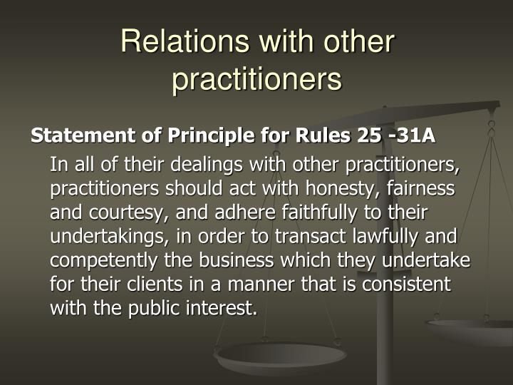 Relations with other practitioners