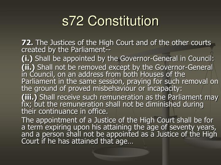 s72 Constitution