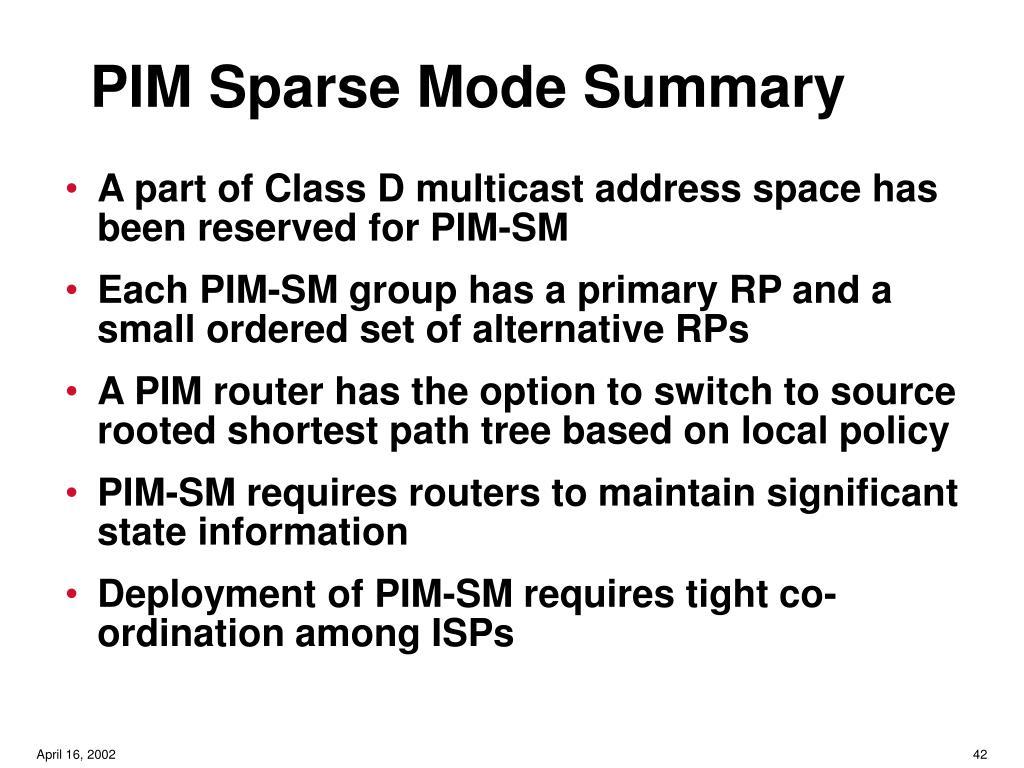 PIM Sparse Mode Summary