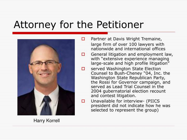 Attorney for the Petitioner