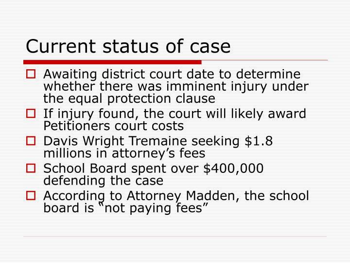 Current status of case