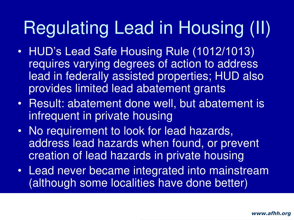 Regulating Lead in Housing (II)