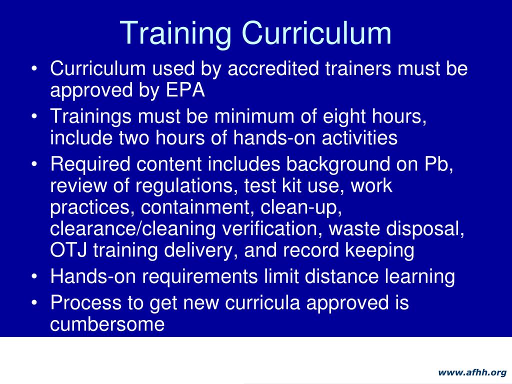 Training Curriculum