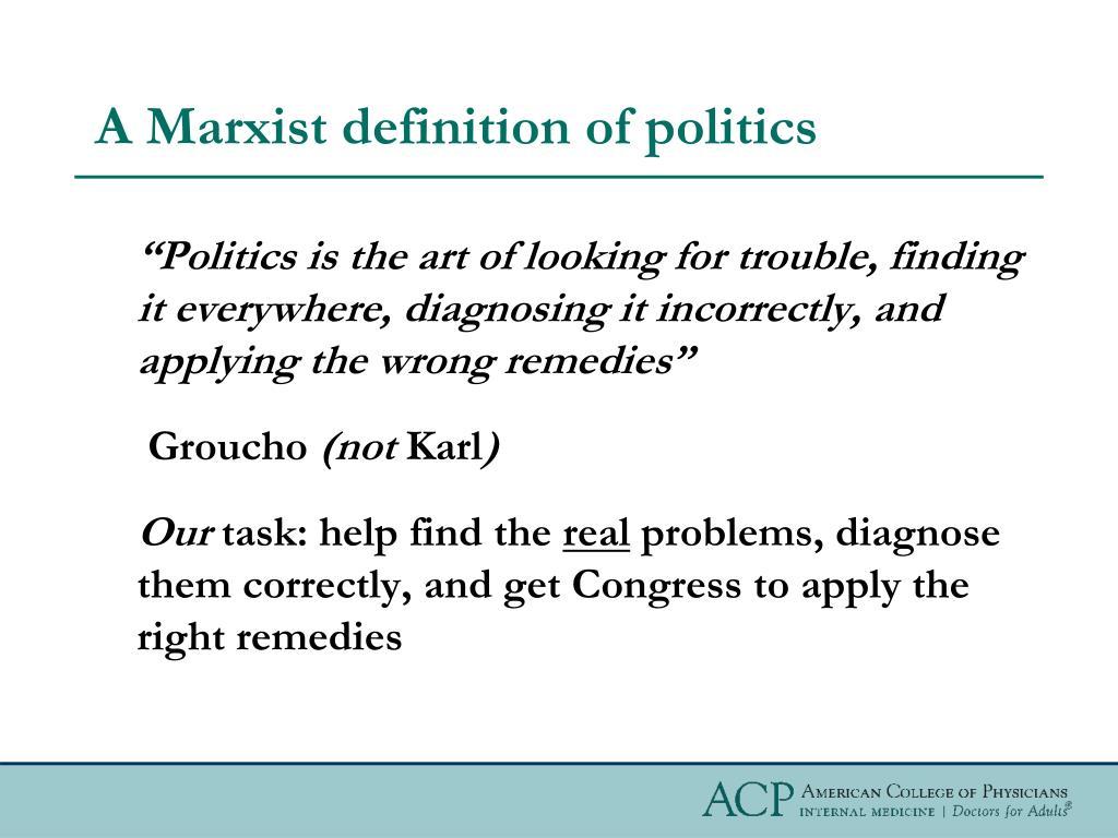 A Marxist definition of politics