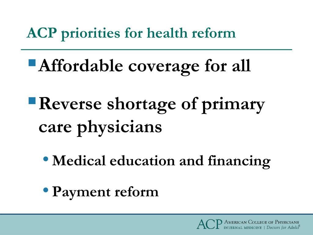 ACP priorities for health reform