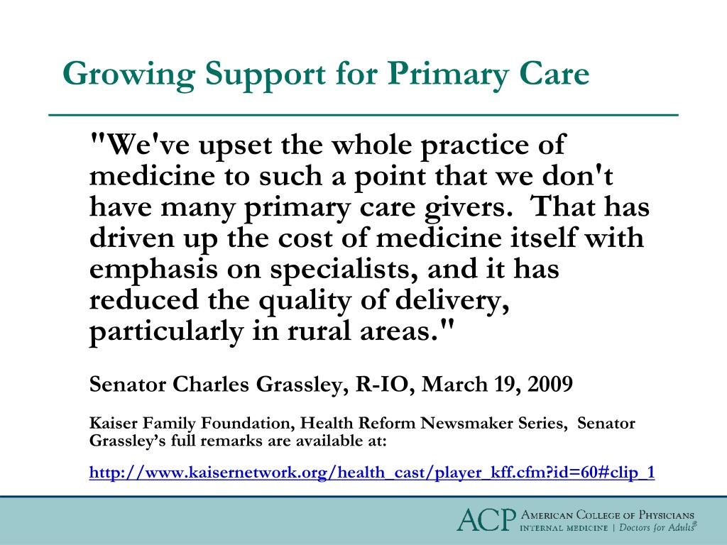 Growing Support for Primary Care