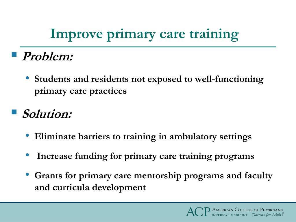 Improve primary care training
