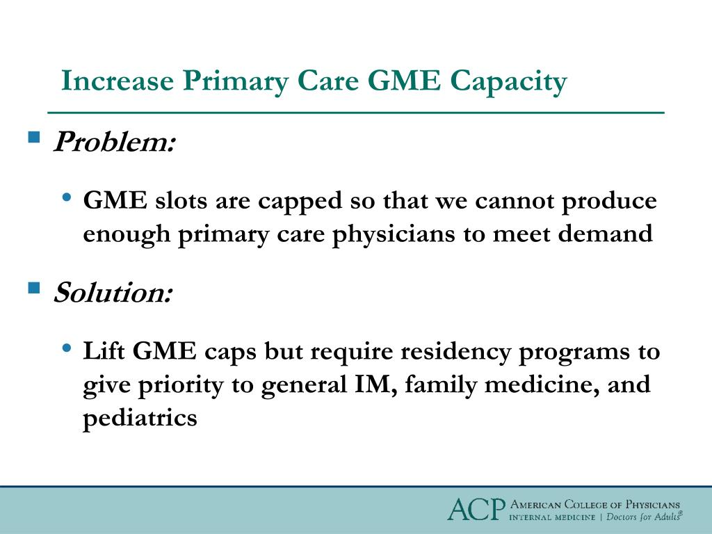 Increase Primary Care GME Capacity