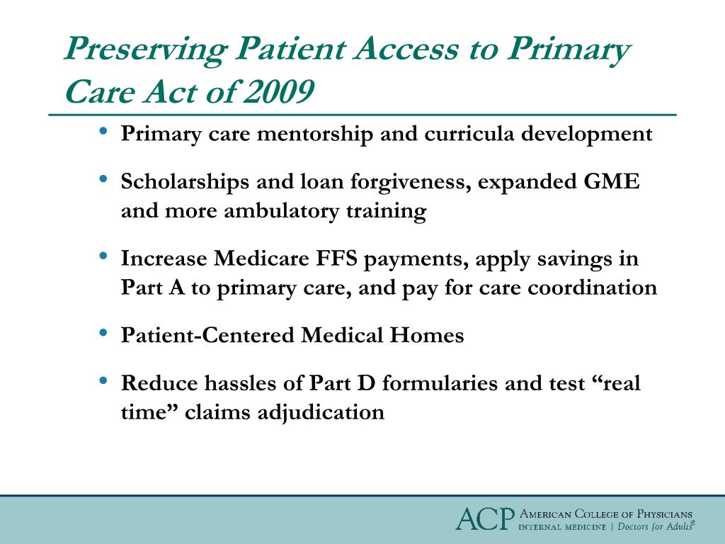 Preserving Patient Access to Primary Care Act of 2009