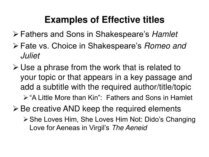 Examples of Effective titles