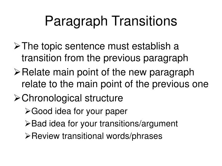 Paragraph Transitions