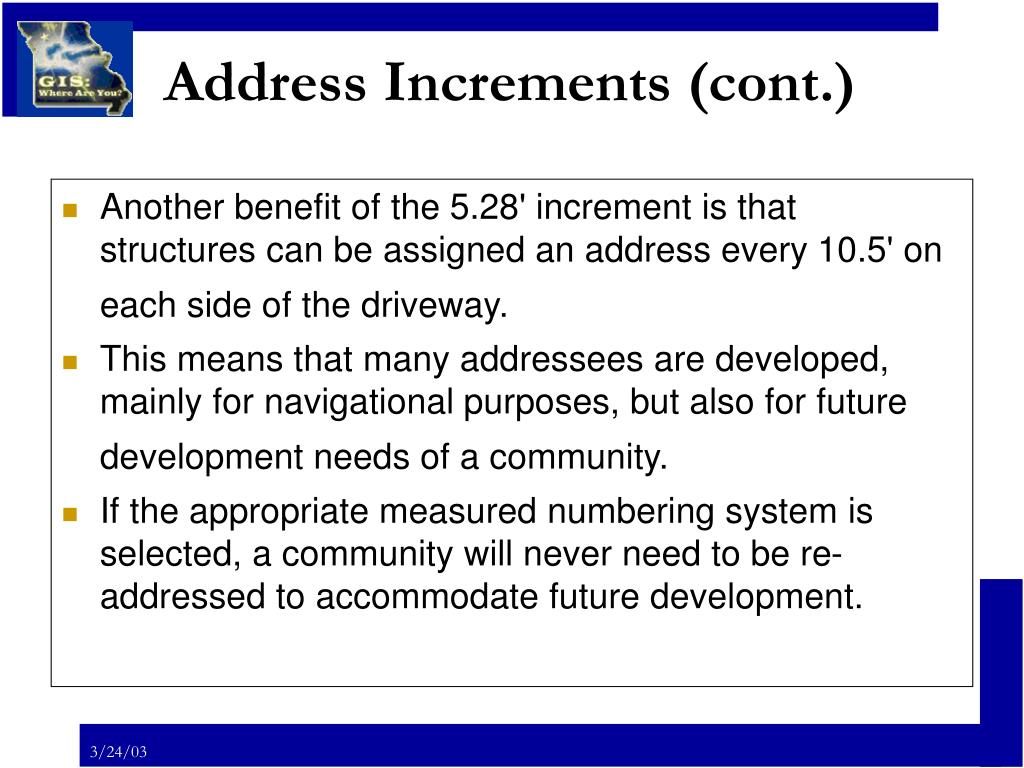 Address Increments (cont.)