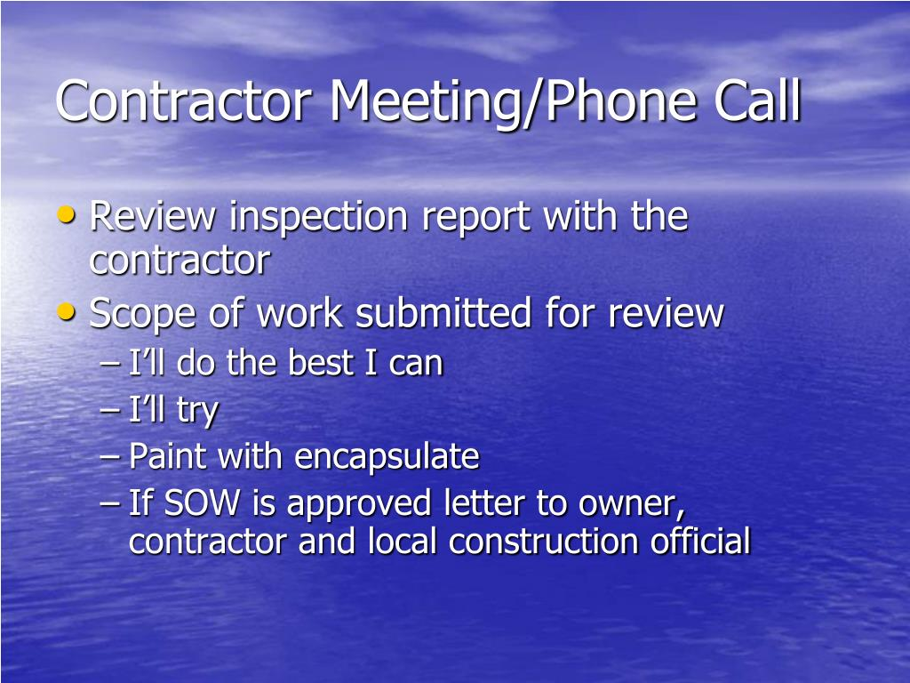 Contractor Meeting/Phone Call