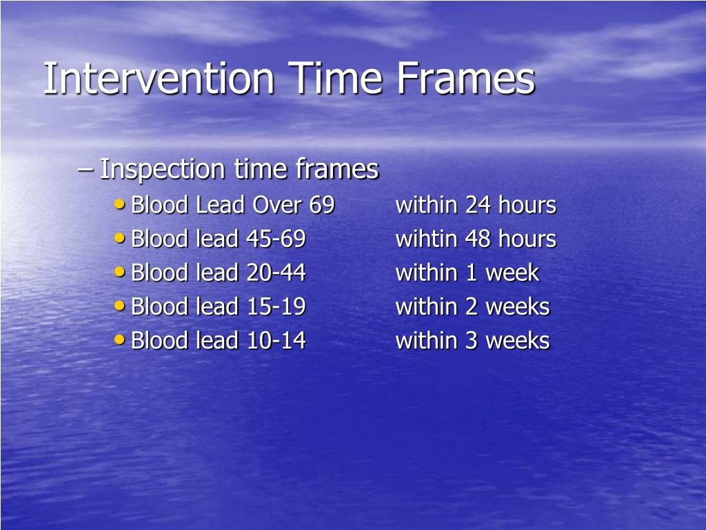 Intervention Time Frames